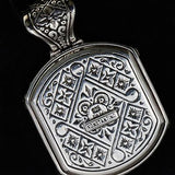 Konstantino 3D Black Onyx Cross Silver Mens Necklace Pendant Reverse Side