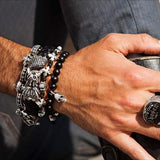 SKULL Black Onyx Bead Bracelet by King Baby