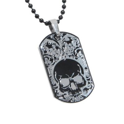 Tribal Hollywood Black Skull Dogtag With Ball Chain Metal Meltdown