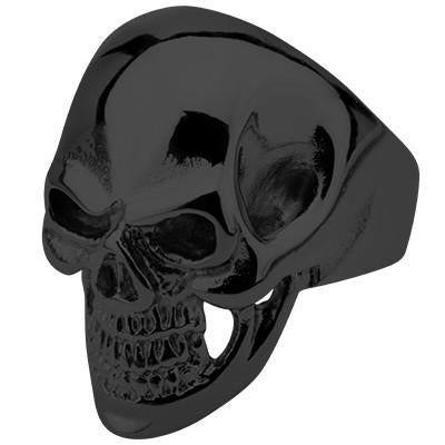 Tribal Hollywood Skull Ring Metal Mania Black IP Steel Metal Meltdown
