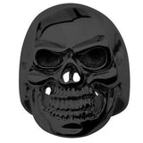 Tribal Hollywood Skull Ring Metal Mania Black IP Steel Metal Meltdown Front View