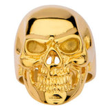 Tribal Hollywood Skull Ring Metal Mania Gold IP Steel Metal Meltdown Front View