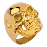 Tribal Hollywood Skull Ring Metal Mania Gold IP Steel Metal Meltdown Side View