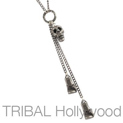 Mens Necklace THE CONTENDER with Silver Boxing Gloves and Skull | Tribal Hollywood