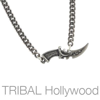 Mens Necklace Ritual Blade Dagger Pendant With Silver