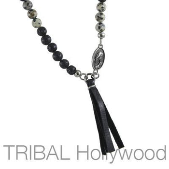 Mens Necklace CANOPY DALMATIAN Beaded Chain with Cross and Virgin Mary | Tribal Hollywood