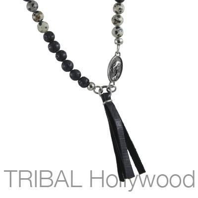 Mens Necklace CANOPY DALMATIAN Beaded Chain with Cross and Virgin Mary | Tribal Hollywood  sc 1 st  Tribal Hollywood & Mens Necklace CANOPY DALMATIAN Beaded Chain with Cross and Virgin ...