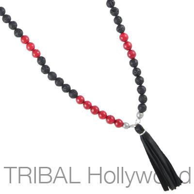 Mens Necklace CANOPY RED RIVER BEET Beaded Chain with Leather Tassel | Tribal Hollywood
