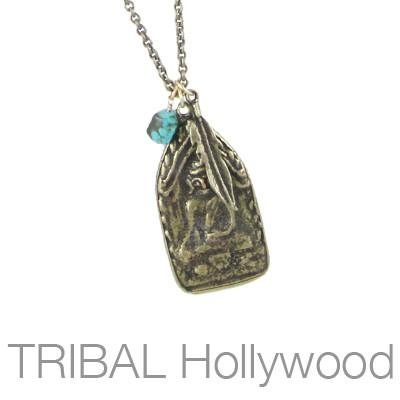 Ettika Man Buddha Relic Medallion Weathered Brass Necklace