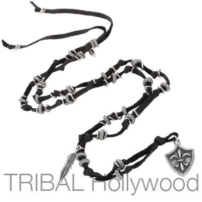 Mens Leather Necklace FLEUR-DE-LYS SHIELD with Knotted Black Cord | Tribal Hollywood