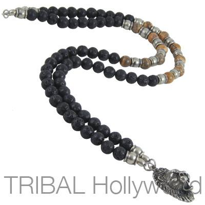 Mens Bead Necklace Jungle King Jasper With Lions Head