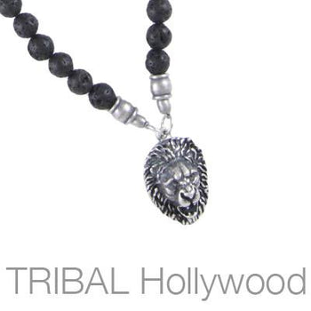 Mens Bead Necklace JUNGLE KING RED RIVER BEET with Lions Head Medallion | Tribal Hollywood