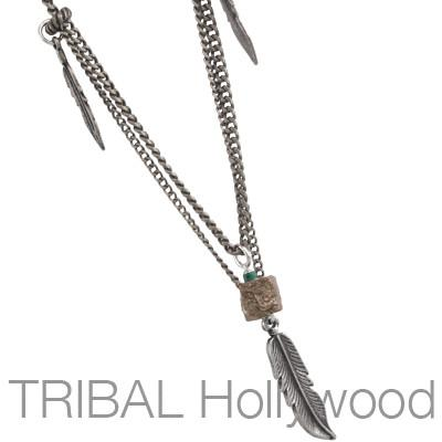 Mens Feather Necklace THE AVIARY in Silver with Curb Chain | Tribal Hollywood