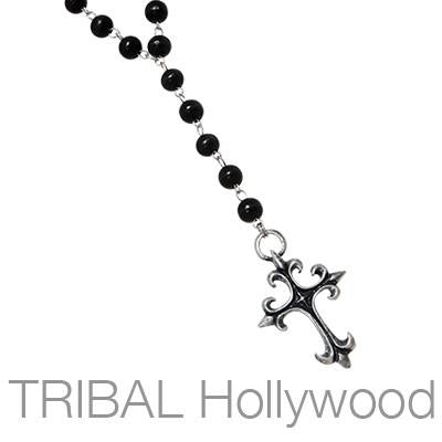 Ettika Man Gothic Rosary Cross Black Wood Mens Bead Necklace
