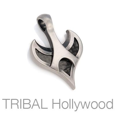 Bico Warbird Carbon Fiber and Silver Tribal Necklace Pendant