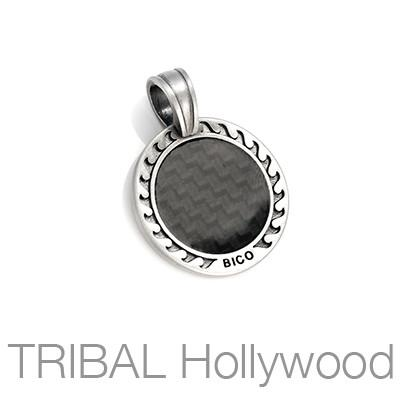 THE CARBON SUN Carbon Fiber Round Medallion Necklace Pendant by BICO Australia | Tribal Hollywood