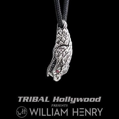 William Henry Silver Snakehead Mens Paracord Necklace