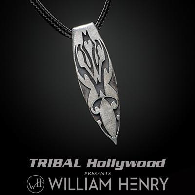 William Henry Kaha Maori Surfboard Silver Mens Necklace