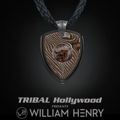 William Henry Dinosaur Bone Mokume Gane Mens Kevlar Necklace