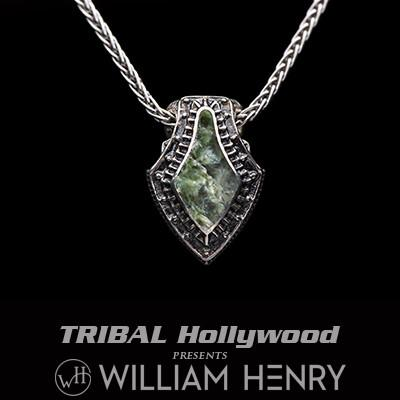 William Henry Green Dinosaur Bone Fossil Silver Necklace