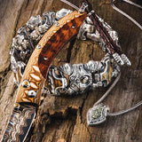 William Henry Green Dinosaur Bone Fossil Silver Necklace with Mammoth Tooth Cross Bracelet and William Henry Knife 2