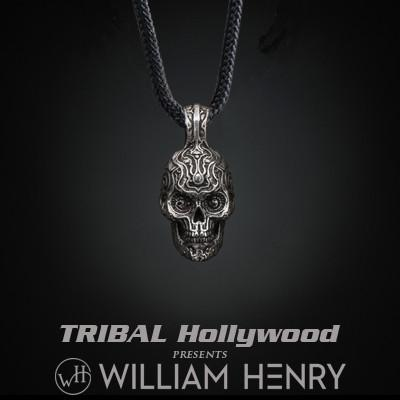 William Henry FLAMING SKULL Sterling Silver Paracord Mens Necklace