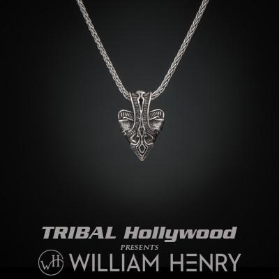 William Henry Arrow Sterling Silver Mens Arrowhead Necklace