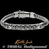 Keith Jack Devotion Celtic Knots Bar Silver Mens Bracelet