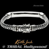 Keith Jack Devotion Celtic Knots Bar Silver Mens Bracelet Reverse Side