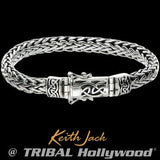 Keith Jack Dragon Weave Celtic Knot Silver Mens Bracelet