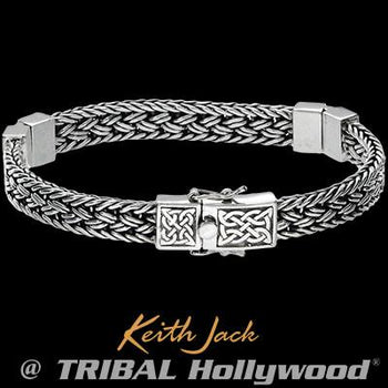 Eternal Bond Celtic Knots Sterling Silver Mens Bracelet