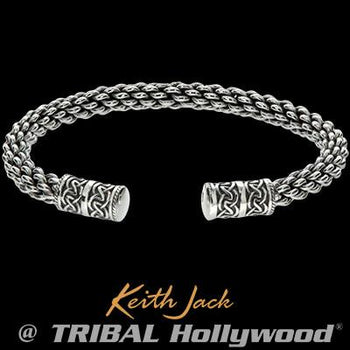 Keith Jack Celtic Weave Celtic Knots Silver Cuff Bracelet