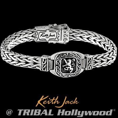 Lion Rampant Celtic Knots Sterling Silver Mens Bracelet