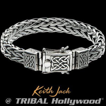 Keith Jack Silver Celtic Knots Sterling Silver Mens Bracelet