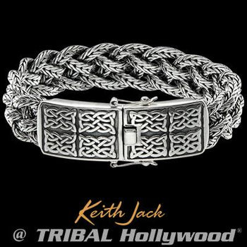 Keith Jack Celtic Knot Panels Sterling Silver Mens Bracelet