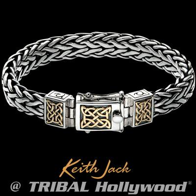 Keith Jack Gold Celtic Knots Sterling Silver Mens Bracelet
