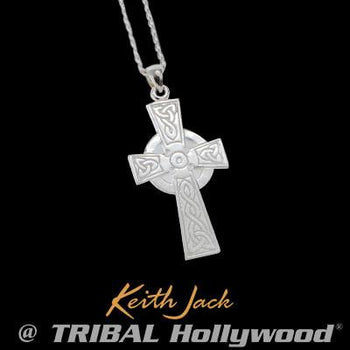 Keith Jack Eternal Faith Celtic Knot Cross Silver Necklace