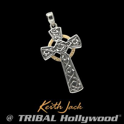Golden halo sterling silver celtic cross necklace pendant golden halo sterling silver mens celtic cross pendant by keith jack mozeypictures Image collections