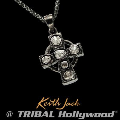 Celtic irish jewelry for men tribal hollywood raw diamonds sterling silver mens celtic cross necklace aloadofball Image collections
