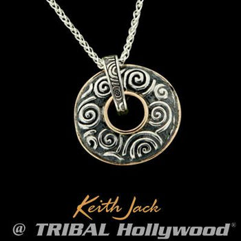 Celtic Spinning Disc Reversible Silver Necklace Pendant