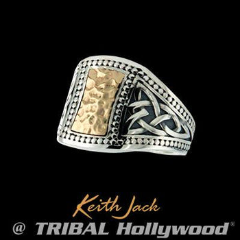 Celtic Trinity Knot Gold Shield Sterling Silver Mens Ring