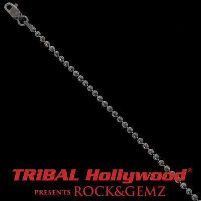 Beaded Ball Chain Black Rhodium Sterling Silver Mens Necklace