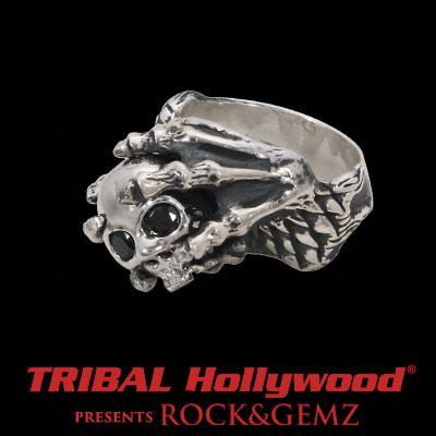 DRAGON CLAW Silver Skull Ring with Black CZ Stone Eyes