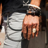 Guy Wearing Ivory Skull Ring and Skull Bracelets