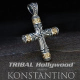 Konstantino Phidias Silver Sculpted Cross Necklace Pendant