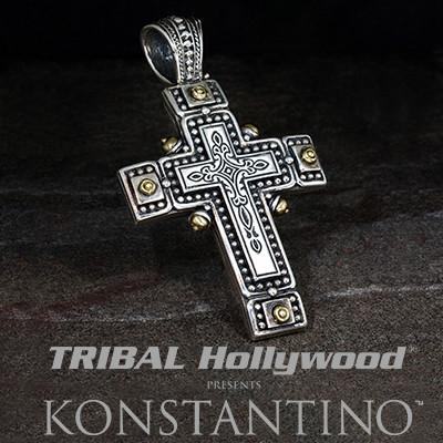 Konstantino Riveted Silver Greek Cross Mens Necklace Pendant