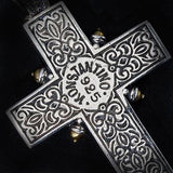 Konstantino Riveted Silver Greek Cross Mens Necklace Pendant Reverse Side Close-up