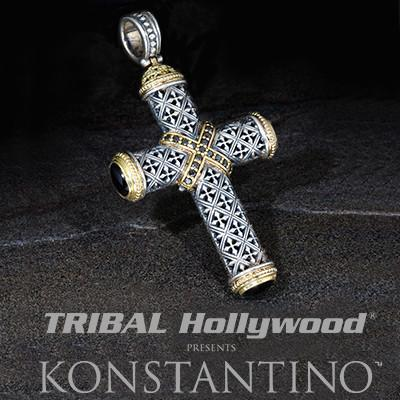 Konstantino Confessional Cross Black Diamond Necklace