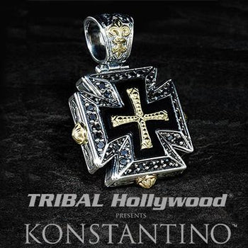 Konstantino 18k Gold Maltese Cross Mens Necklace Pendant