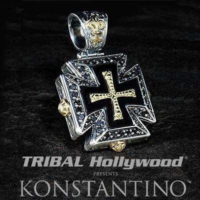 Konstantino 18k gold maltese cross mens necklace pendant konstantino 18k gold maltese cross black diamond mens pendant necklace mozeypictures Choice Image